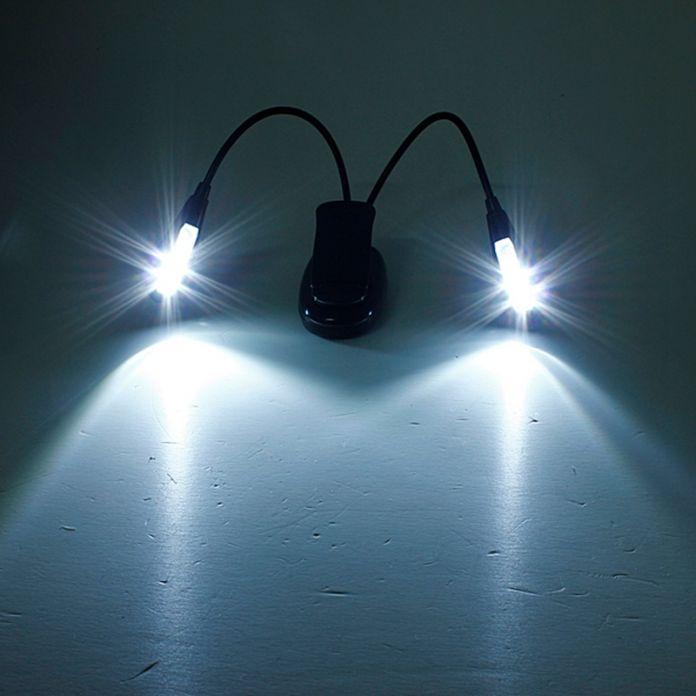Лучшее Продвижение Гибкая 2 Arm 8 LED Клип Книги Свет Стенд Стол Ноутбук Кровать Чтение Исследование Лампы Музыка