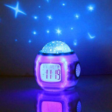"""1 ШТ. Sky Star Ночник Проектор Лампы Будильник Вт/музыка 10.3x10.3 см (4 """"x 4"""") Бесплатная доставка"""