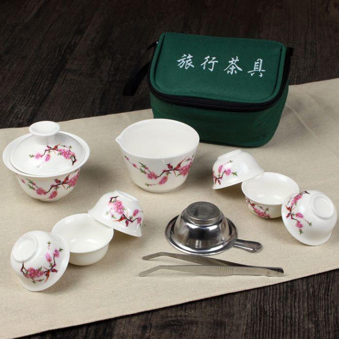 11 Шт. Путешествия Чайные Сервизы Китайский Портативный Керамический Костяного Фарфора Ча Ju Gaiwan Чашка Фарфоровая Чашка для Чая Кунг-Фу Открытый Чайник набор