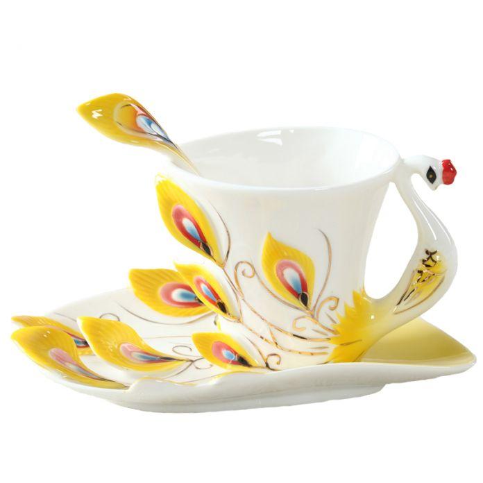 Красочный павлин чашка кофе керамическая эмаль чашки и кружки свадебный подарок на день рождения творческого мира 175 мл