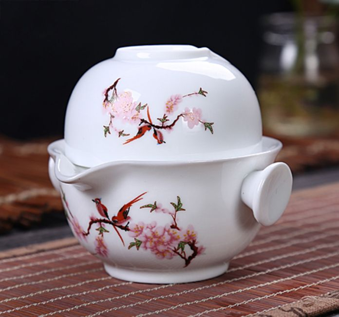 Китайский Традиционный Gaiwan Чайный набор Включает 1 Баночка 1 Чашки, высокое качество элегантный Кунг-Фу чашка, Красивый и легкий чайник чайник