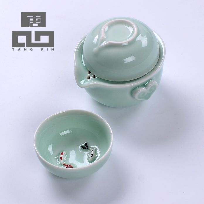TANGPIN longquan цвет морской волны чайник чашка керамическая чайник рыбы чашка керамическая портативный путешествия чайный сервиз подарки на новый год