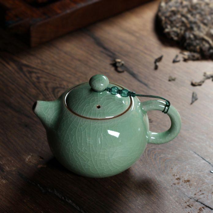 230 мл горячей треск глазури брат печи Longquan цвет морской волны Zisha керамика искусств большая емкость исин глина античный фарфоровый чайник