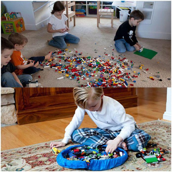 Горячая портативный дети ребенок младенец играть мат большие сумки хранения игрушки организатор одеяло коврик боксы для игрушки