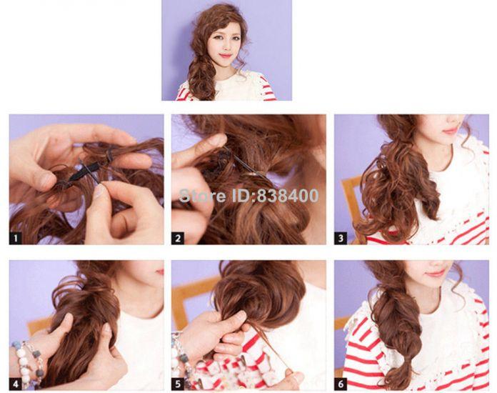 Синтетический Волнистые Хвост Волос 1 ШТ. Природных Длинными Эластичный Волос Ролики Грязный Updo Hairpieces
