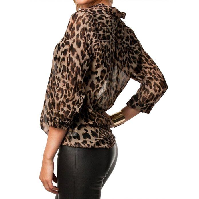 Зима Дикий Леопард Шифон Женщин Случайных Рубашки Моделей Блузка Рубашка Женский Шифон Блузка Высокое Качество Blusas Femininas 2016