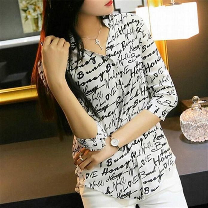 2016 корейских женщин типа письмо / зебра печать блузка шифон рубашка девушка 3/4 рукавами топы
