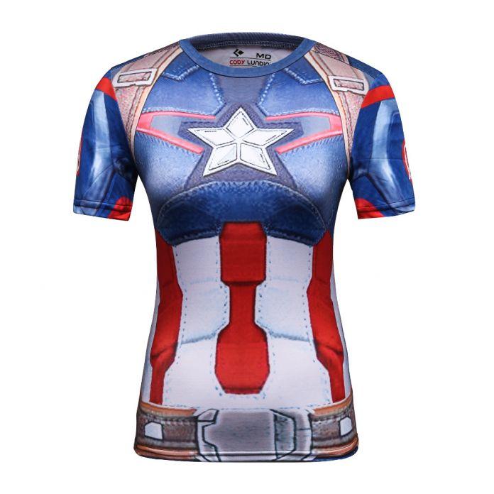 Коди Лундин 2016 Star Wars Прохладный Мстители Супергерой Супермен Капитан Америка Повседневная Футболка Женщины Сжатия Бодибилдинг Рубашка