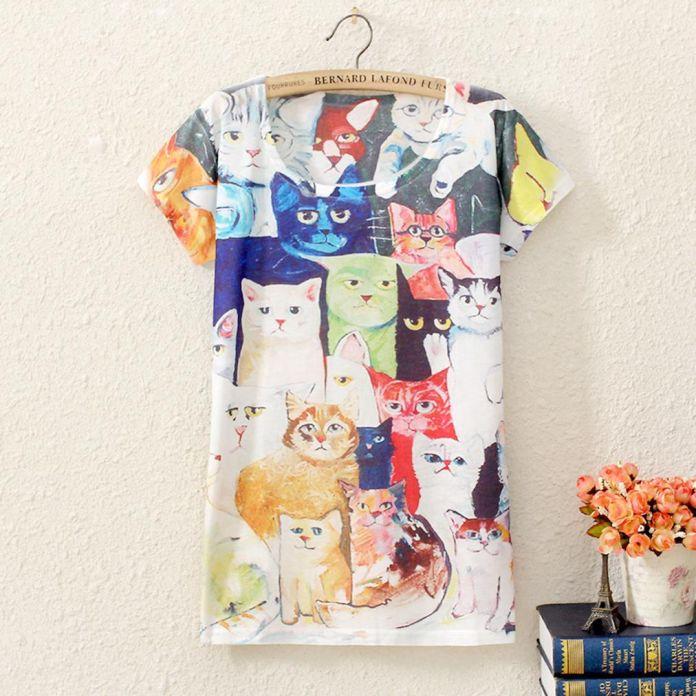2016 Т Рубашки Женщины Животных Серии Забавный Принт Футболка Мода Футболка Ти Топы единорог кошка львы и тигры, слоны Panda
