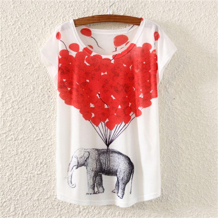 Новый 2016 повседневная топ свободные тис Хлопок девушку футболка Harajuku Мультфильм любовь слон Печати женщины t-shirt Плюс Размер женщин одежда