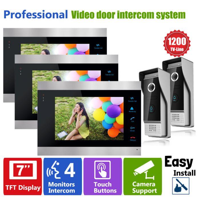 YSECU Видео Домофонные Дверной звонок с Видео Домофон Система Мониторинга Двери Глазок Двери Камеры 3 Внутренних Блоков 2 Внешней Панели