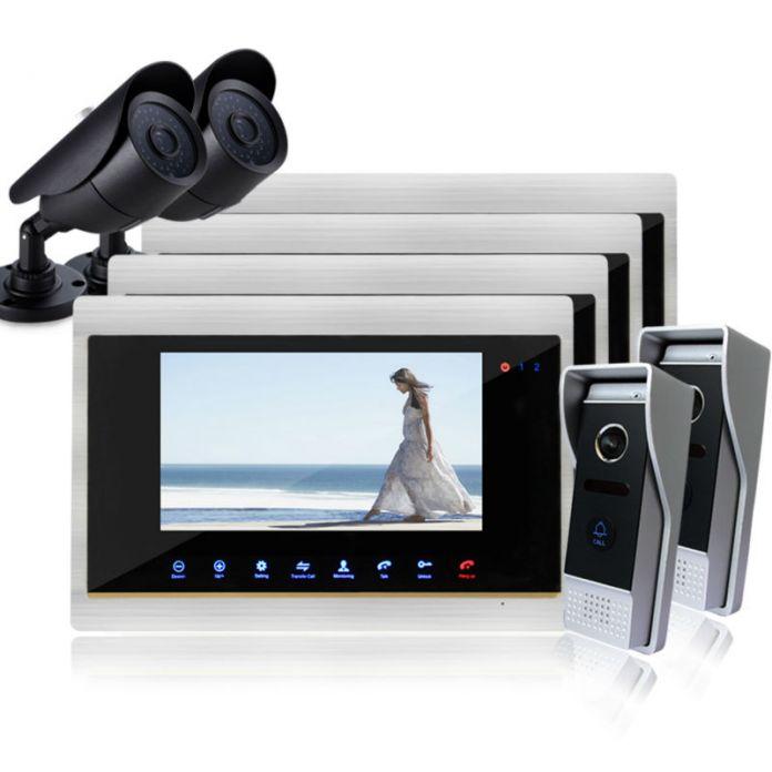 YSECU Нового прибытия Видео-Телефон Двери TFT Экран Алюминиевого сплава Монитор CMOS Камера Ночного Видения Дверной Звонок Обскуры камера