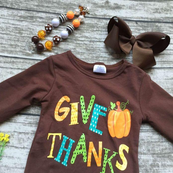 Детские девушки Осень/Зима благодарения одежда дать тыквы спасибо наряды дети коричневый топ с горошек брюки с аксессуарами