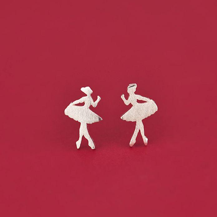 2016 Балет Балерина Подарок Серебряные Серьги Стержня Танцовщицы Танцев для Женщин Девушки Знакомства Специальная Мило
