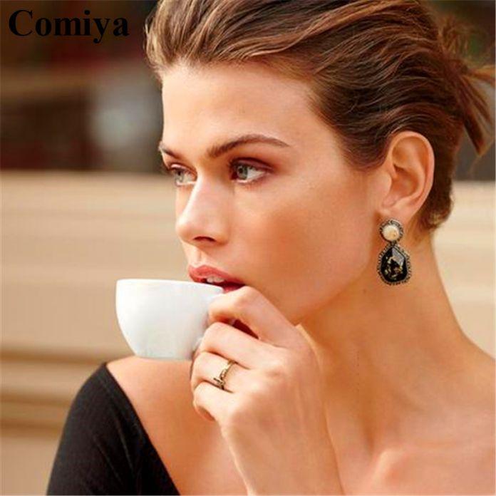 Comiya розовый черный имитация драгоценных камней серьги падения rhinestone ободок старинные аксессуары ретро серьги dangler для женщин девушка