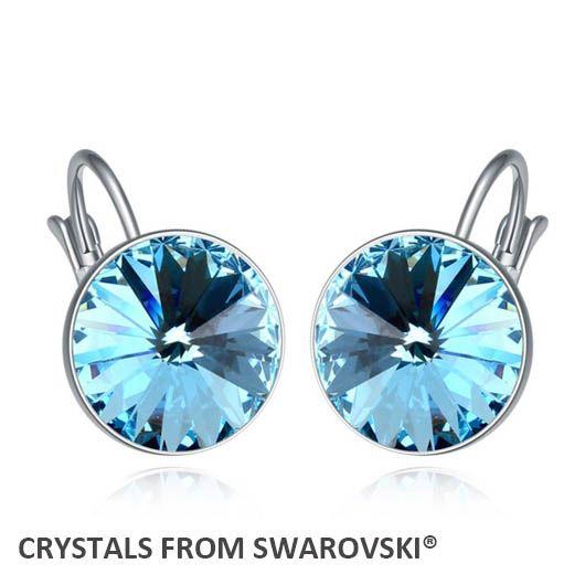 2015 горячая распродажа 6 камень цвета круглый серьги кристаллы из кристаллов сваровски хорошо для рождественский подарок