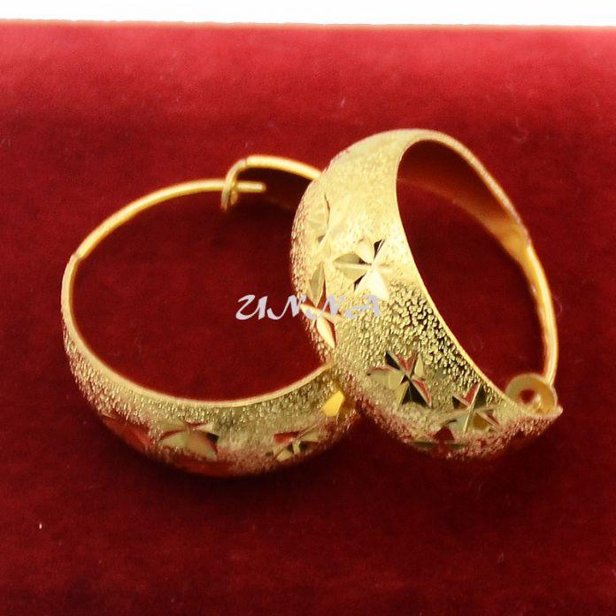 Женская Хооп Серьги Золотые Дамы Желтого Золота Заполнены Серьги Круглый Ювелирных Изделий