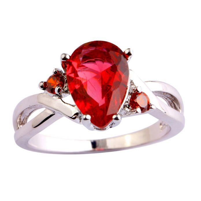 Lingmei свадебные украшения груша вырезать рубин шпинель белый топаз ааа серебряное кольцо для женщин размер 6 7 8 9 10 11 12 бесплатная доставка оптовая продажа