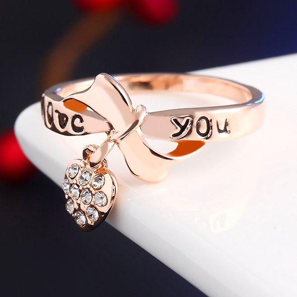 17 КМ Романтический Подарок Ретро Любовь Сердца Лук Кольца Золотого Цвета свадьба Австрийский хрусталь Элемент Кольца Слово Кольцо Для Женщин
