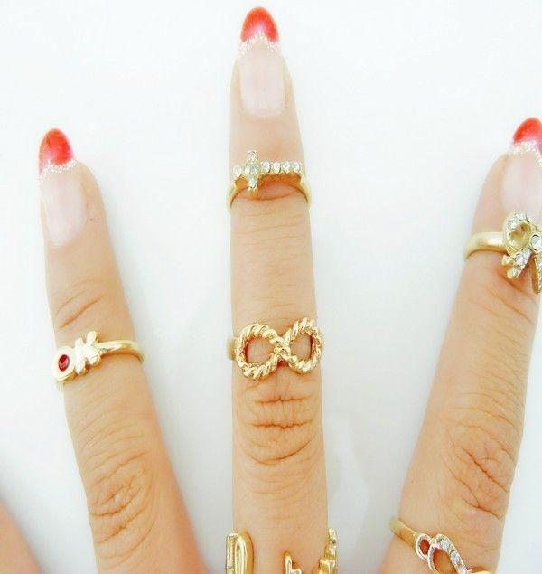 Мода Kastet кольцо украшения для женщин 7 шт. бесконечность золотой крест середина ногтей костяшки пальцев кольца для женщин Aneis Femininos