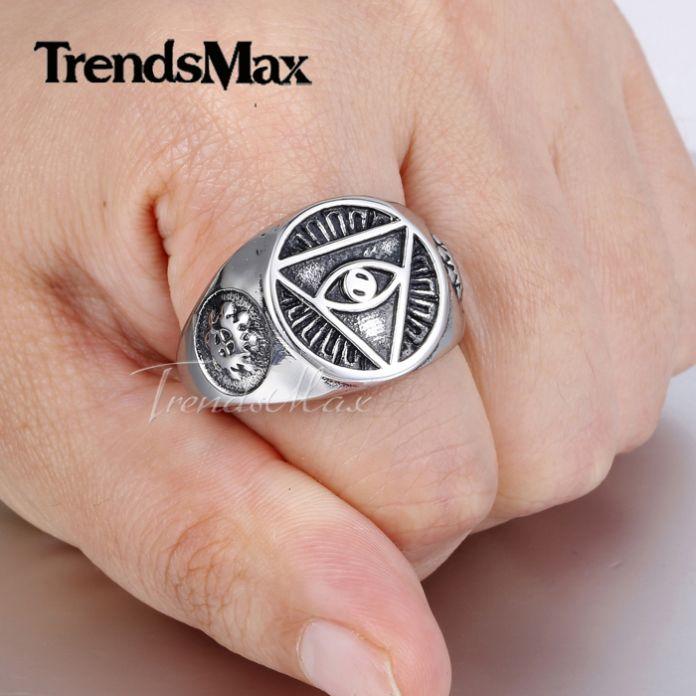 Trendsmax Иллюминаты пирамида глаз символ Позолоченный Нержавеющей стали 316L Перстень Мужские Ювелирные Изделия HR365
