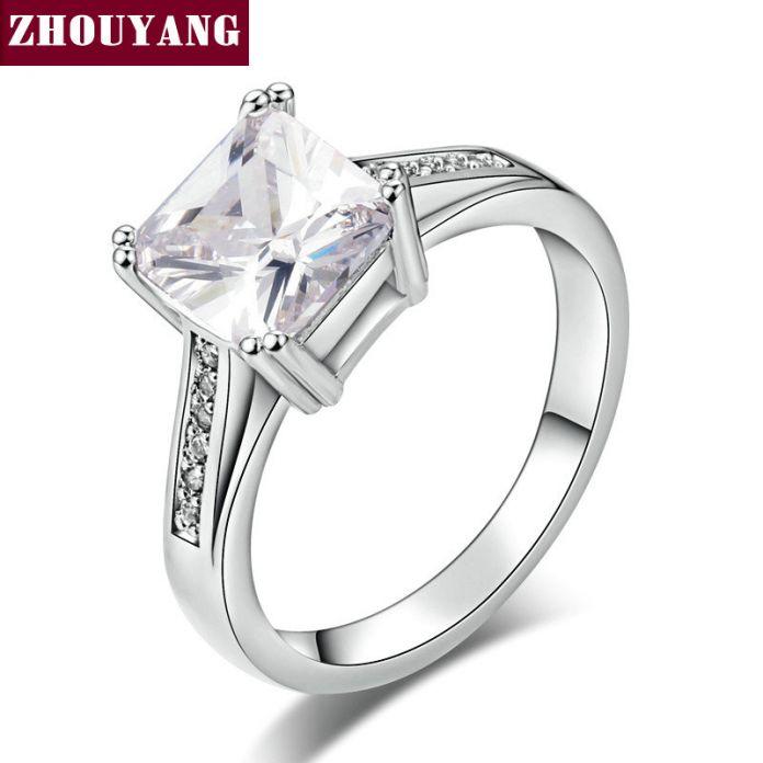 Белый Позолоченный AAA + CZ Bijoux Мода Свадьба & Обручальное Кольцо Ювелирные Изделия Для Женщин, Как Юбилей Подарок ZYR569