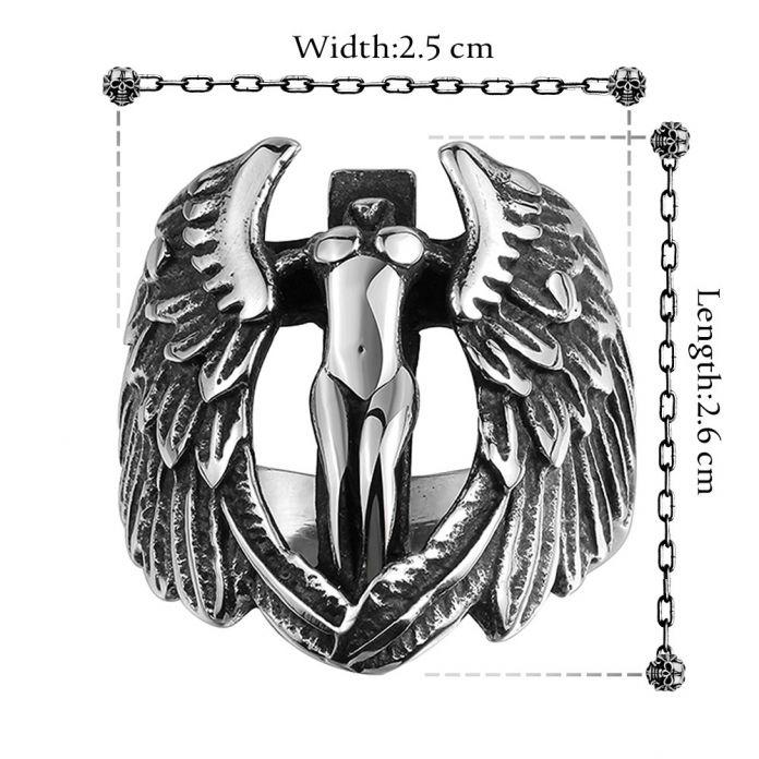 Модный Бренд Мужчины Кольца 316L Ювелирные Изделия Нержавеющей Стали Мужчины Кольца Библия Крест Крылья Ангела Архангел Тираэль Винтаж Подростковая Кольцо