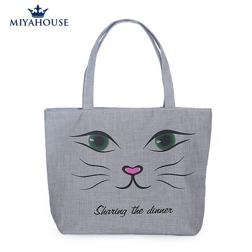 Милые кошки уха рыбы холст сумки одного плеча сумочку черная кошка холст пляжную сумку тканые сумки холстины женщин