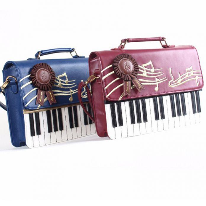 Шарм в руках Рок Стиль Кожа Женщины Сумка Вышивка Черно-Белые Клавиши Пианино Знаменитые Дизайнеры Женщины Сумки LM2163