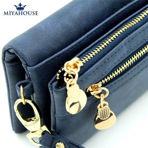 Кожаный бумажник  для женщин с  двойной молнией