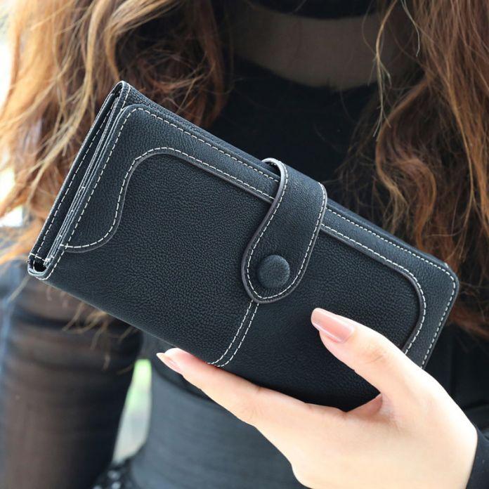 Кожаный бумажник  из нубука для женщин carteira