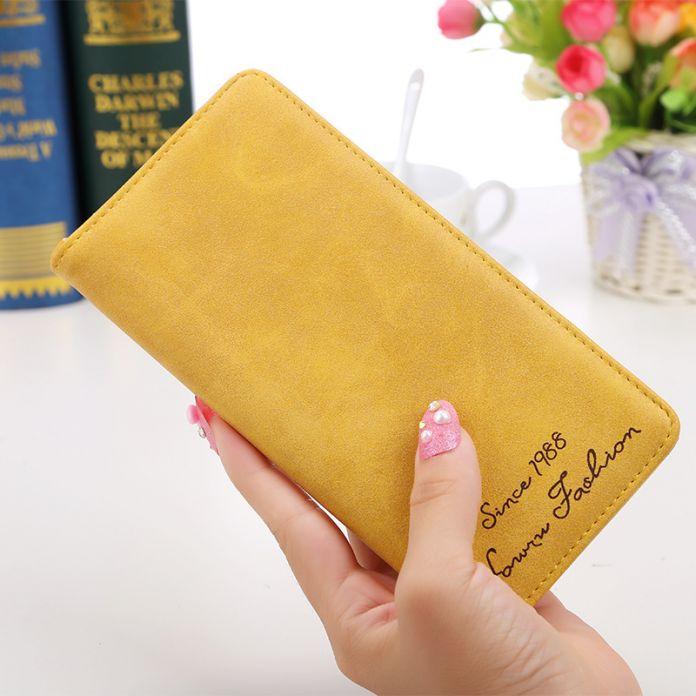Женский кошелек   с тонким держателем с матовой кожей