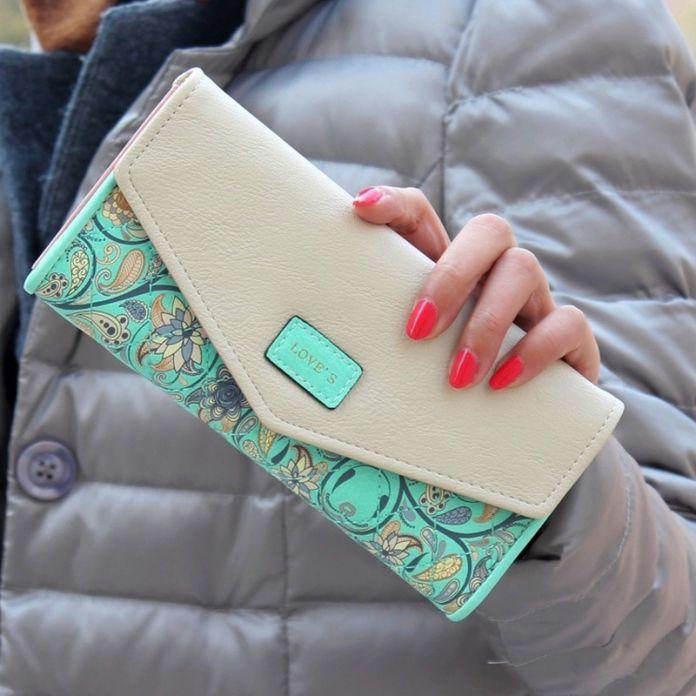 RU и BR Моды Hasp Конверт Бумажник Хит Цвет 3 Раза Цветы Печать Доллар Цена Обложка для Паспорта Бумажник Монетки Carteira Feminina