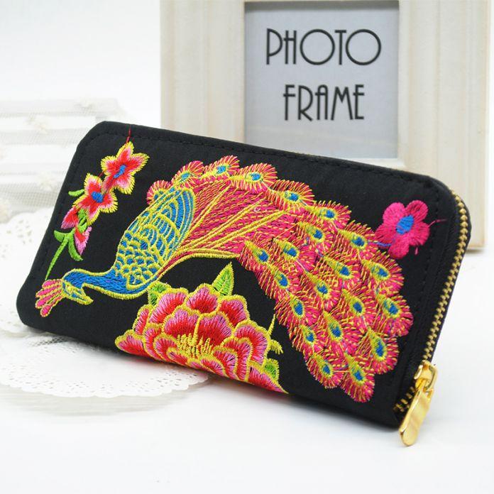 Новый Цветок Вышитые Кошелек Ручной Работы Этнические Цветы Вышивка 2015 Женской Моды Долго Кошелек Телефон Сумка