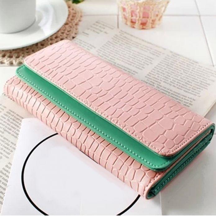 Роскошные женщины камень шаблон кожаный бумажник, Мода контрастного цвета 3 раз кредитные удостоверение личности держатель кошелек сумочка клатч Y50 B9039