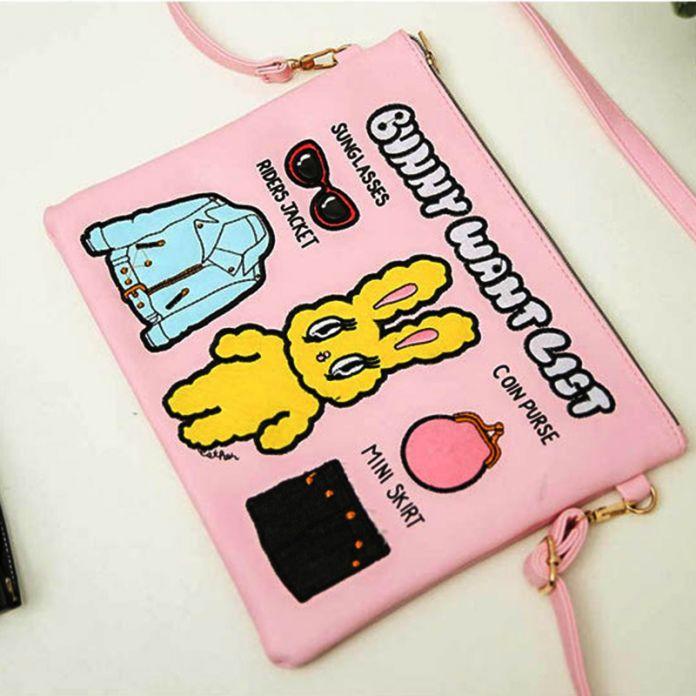 Супер мило Вышивка кролик сумки кролика Конверт сумки ключи сотовый телефон карман сумки