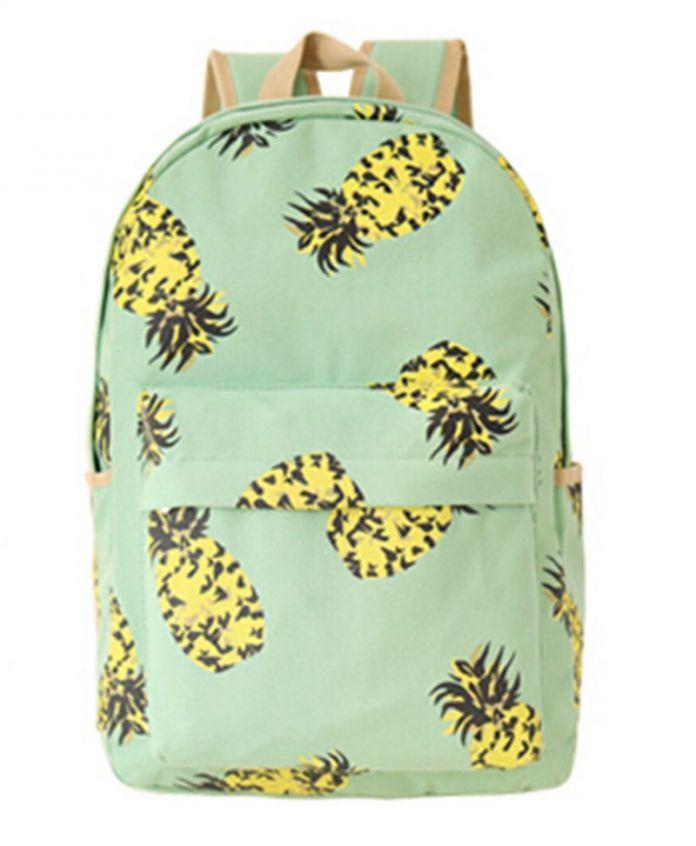 Свежий холст женщины рюкзак мешок школы для подростков дамы девушка ранец Bagpack Mochila фрукты ананас оптовая продажа