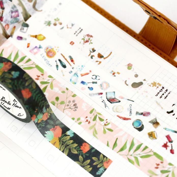 Черный Цветочный Васи Ленты Цветок Fitas Adesivas Decoradas Fleurs Клейкую Ленту для Открытки Фото Альбомы С Вырезками Скрапбукинг Альбомы
