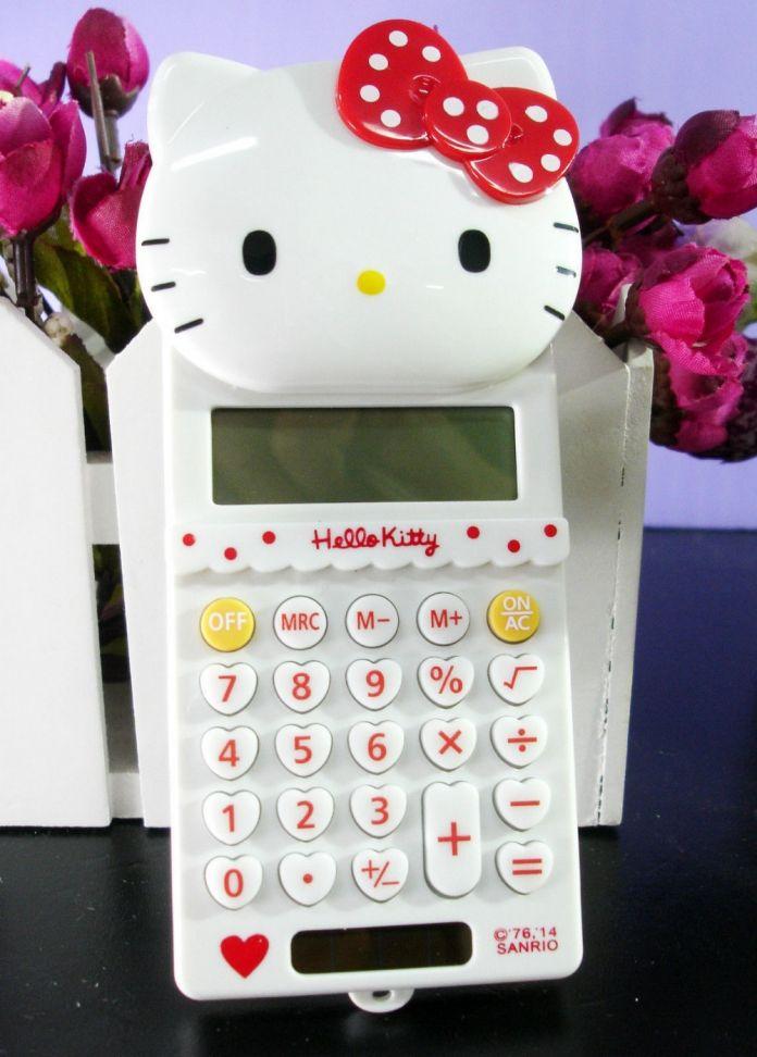 Новые Симпатичные Стретч Hello Kitty Основной Электронный Калькулятор 8 Digitals Белый Расчета Подарок