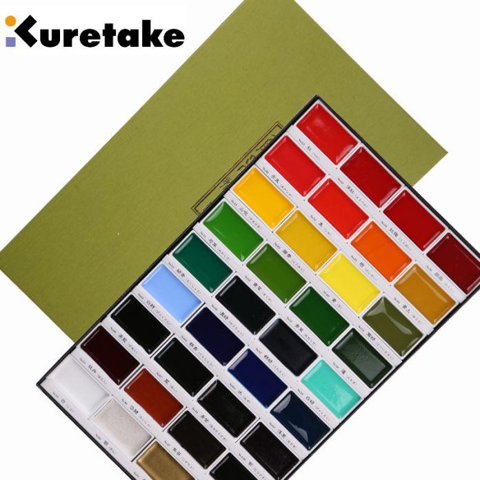 Freeshipping профессиональный уровень Растворимый акварель живопись скала пигмент 36/24/18/12 цвета Kuretake Сакура редкие цвета