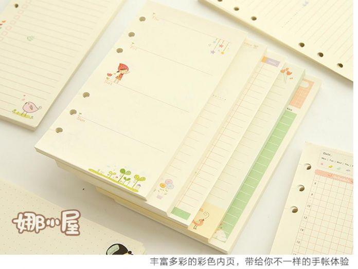 A6 A5 Милый красочный дневник заправки тетрадь заменить цвет core вкладыш канцелярские подарков школа планировщик кольцо связующего бумаги