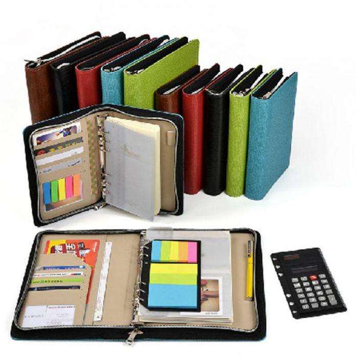 Логотип индивидуальные A5 и A6 бизнес застежке планировщик кожа ноутбук с калькулятор или блокнот для вас на выбор