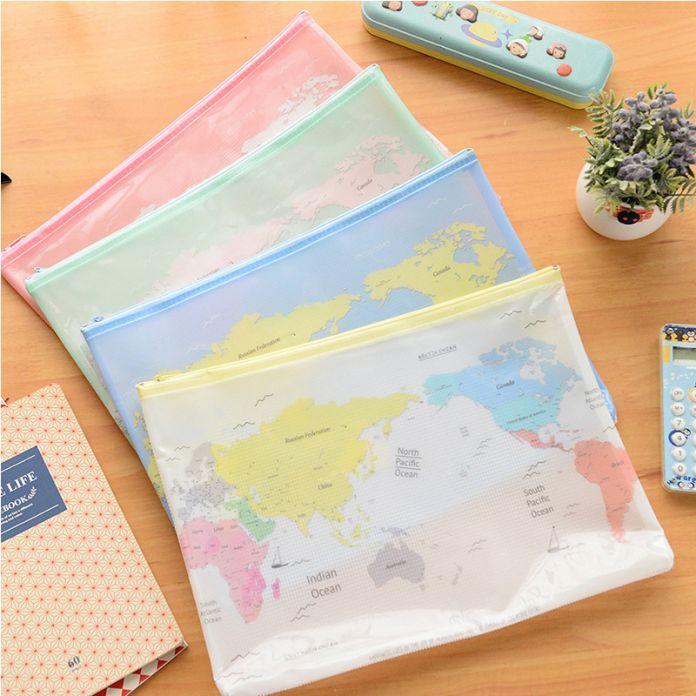 Творческий Карта Мира Pattern A4 A5 B6 Мини Файл Мешок Мешки Документа A4 Файл Папки Канцелярские Подача Производство