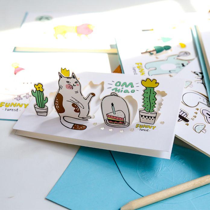 Творческий Лес Животных Мультфильм 3D Открытки Открытки Подарок На День Рождения Карты Набор Карт Сообщение Письмо Конверт Подарочные Карты