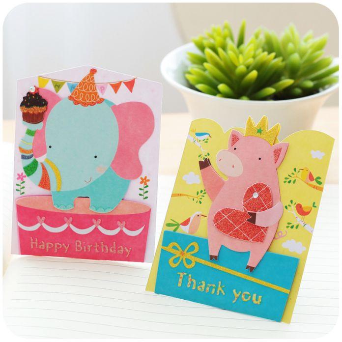 Милый Мультфильм Животные 3D Открытки Открытки Подарок На День Рождения Карты Набор Карт Сообщение Письмо Конверт Подарочные Карты