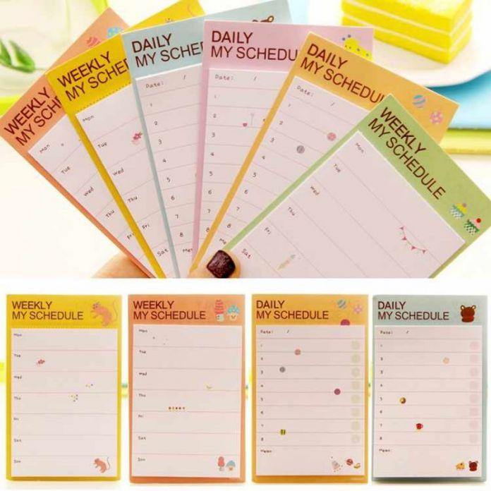 Блокнот ежедневно план расписание стикер милые животные и заметки канцелярия школьные принадлежности ON028