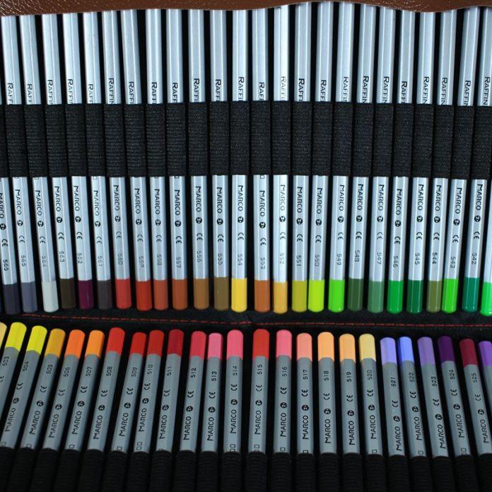 Марко 72 Цветные Карандаши Безопасные нетоксичные Карандаш  72 Ролик Пенал Ролл Мешок Карман Пакет с Резинкой, заточки и Extender
