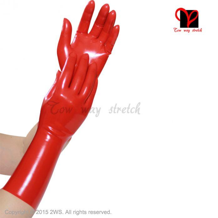 Сексуальная Красный Латекс Короткие Перчатки Наручные Пять Пальцев Gummi Фетиш Связывание Наручные Перчатки Резиновые Рукавицы рука платье Bodycon Купальник XL