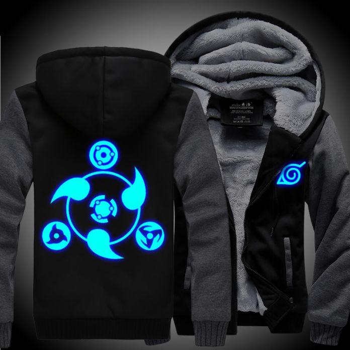 Новые зимние пальто НАРУТО капюшоном куртки свет Аниме Капюшоном Молния мужчины толщиной кардиган Шаринган