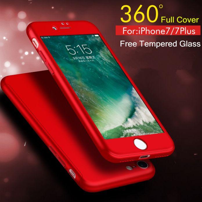 Жесткий чехол 360 градусов охвата (iPhone 5 5S SE 6 6 S 7+) + стекло экрана